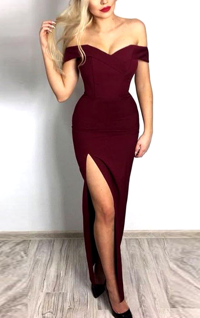 MACloth Off the shoulder Long Prom Dress with Slit Burgundy Formal Evening Gown
