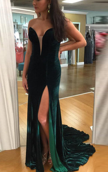 MACloth Mermaid Strapless Sweetheart Velvet Long Prom Dress Green Formal Evening Gown