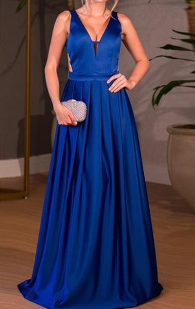 MACloth Deep V Neck Satin Long Prom Dress Royal Blue Formal Evening Gown