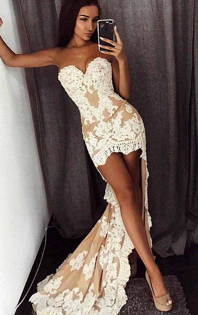 MACloth Strapless High Low Lace Prom Dress Ivory Formal Evening Gown