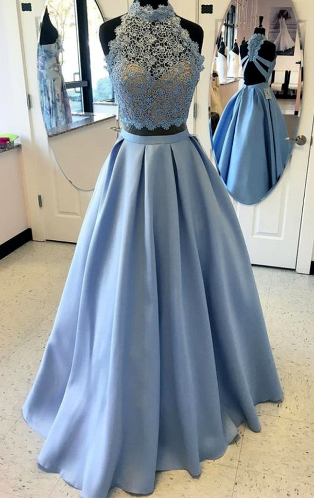 MACloth Halter Lace Two Piece Sky Blue Prom Dress Gorgeous Formal Evening Gown