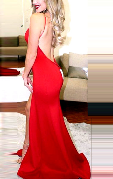 MACloth Halter O Neck Red Long Prom Dress Mermaid Formal Evening Gown