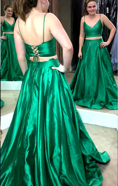 MACloth Two Piece V Neck Long Prom Dress Green Formal Evening Gown