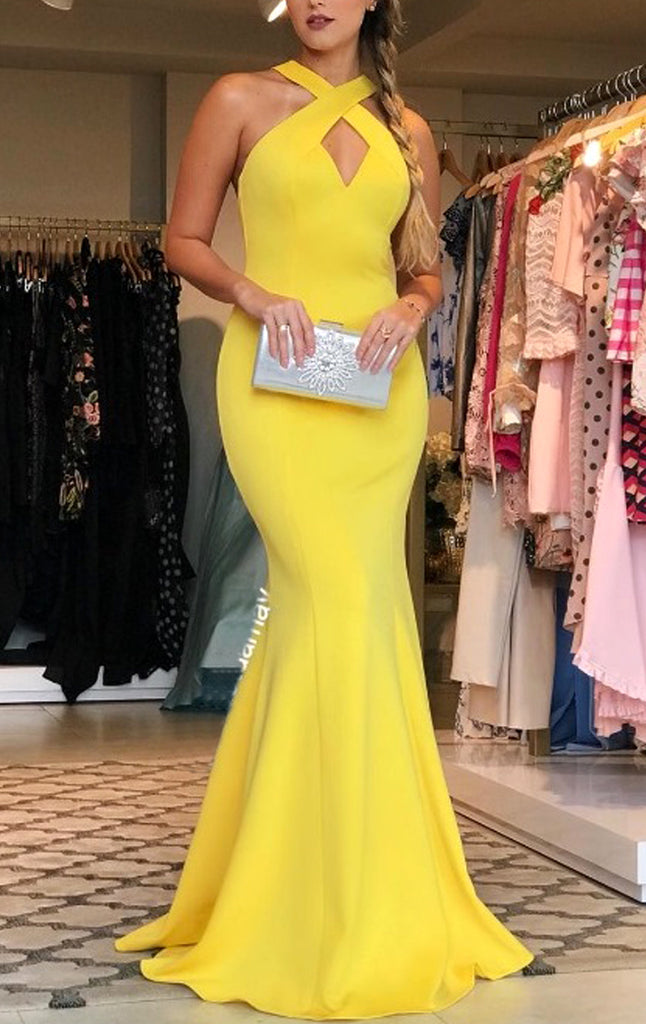 MACloth Halter V Neck Jersey Long Prom Dress Yellow Formal Evening Gow