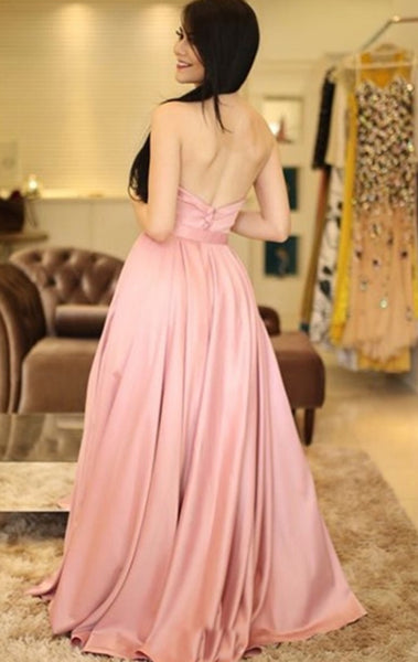 MACloth Strapless Sweetheart Long Prom Dress Blush Pink Formal Evening Gown