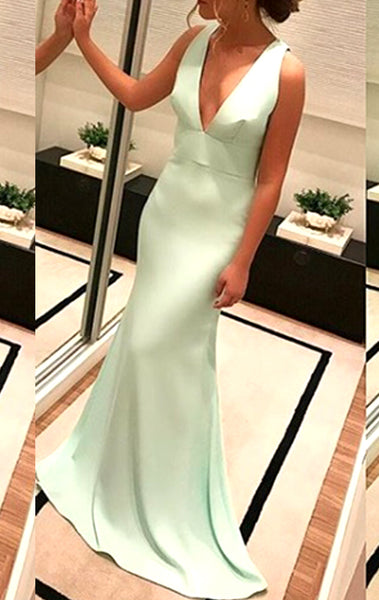 MACloth Deep V Neck Jersey Long Prom Dress Mint Formal Evening Gown