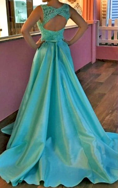 MACloth O Neck Lace Taffeta Long Prom Dress Blur Formal Evening Gown