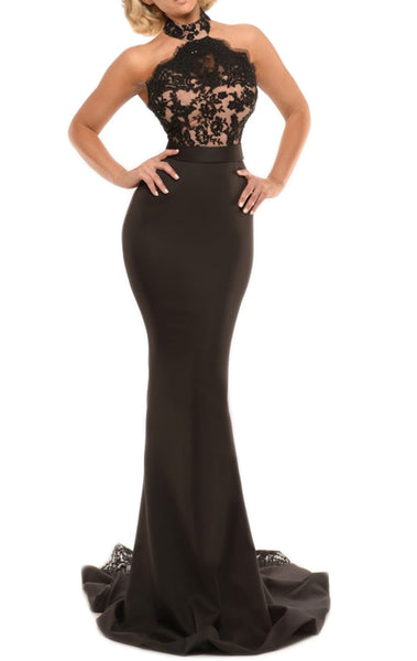 MACloth Mermaid Halter Lace Jersey Long Prom Dress Sexy Formal Gown