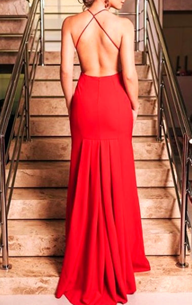 MACloth Deep V Neck Red Long Prom Dress Sexy Formal Evening Gown