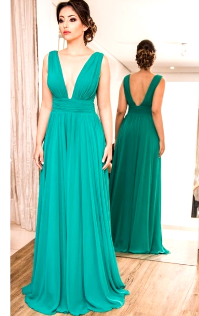 MACloth Deep V neck Chiffon Long Prom Dress Turquoise Formal Evening G