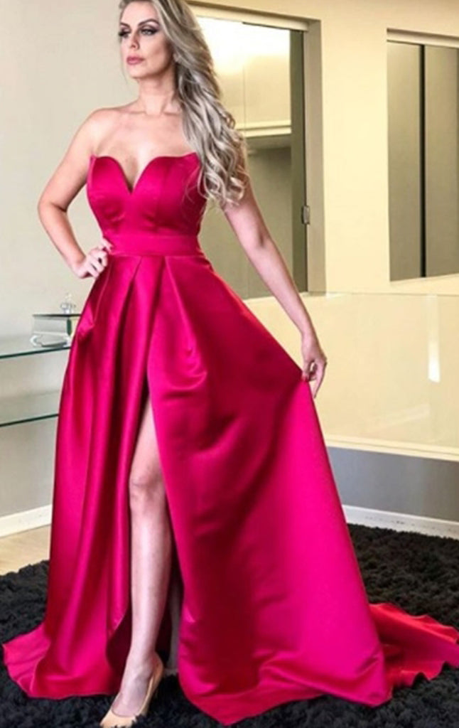 MACloth Strapless Sweetheart Long Prom Dress Fuchsia Satin Formal Evening Gown