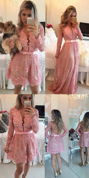 MACloth Long Sleeves V Neck Lace Prom Homecoming Dress Pink Formal Evening Gown