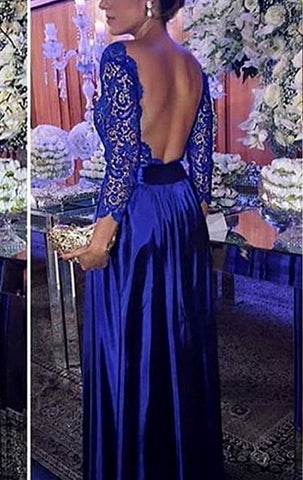 MACloth 3/4 Sleeves Lace Taffeta Long Prom Dress Royal Blue Formal Evening Gown