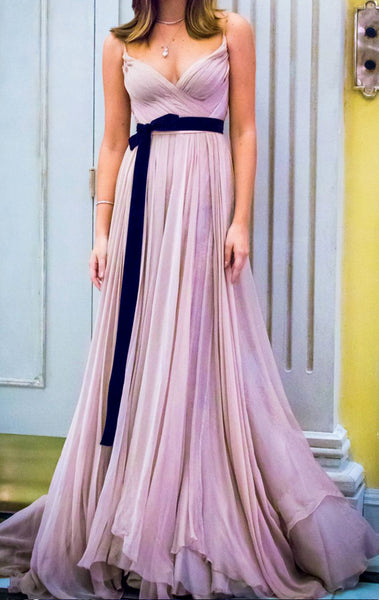 MACloth Straps V Neck Chiffon Long Prom Dress Pale Pink Formal Evening Gown