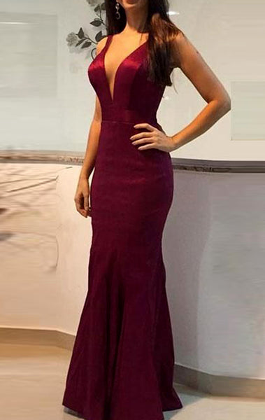 MACloth Sheath V Neck Long Prom Dress Burgundy Formal Evening Gown