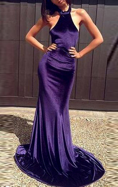 MACloth Mermaid Halter High Neck Velvet Long Prom Dress Purple Formal Evening Gown