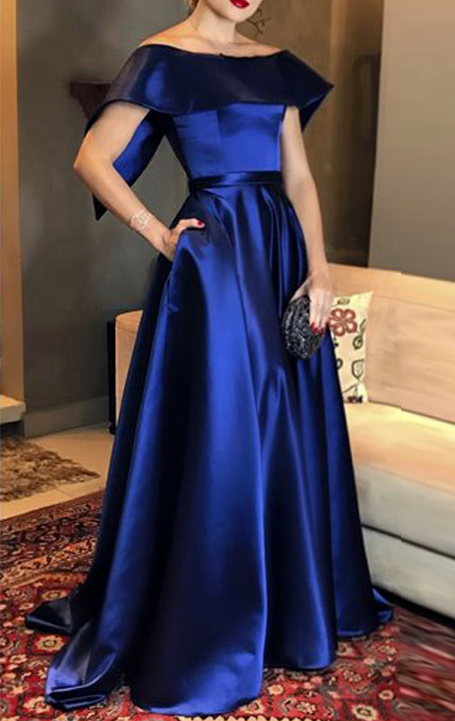 MACloth Boat Neck Long Satin Prom Dress Royal Blue Formal Evening Gown