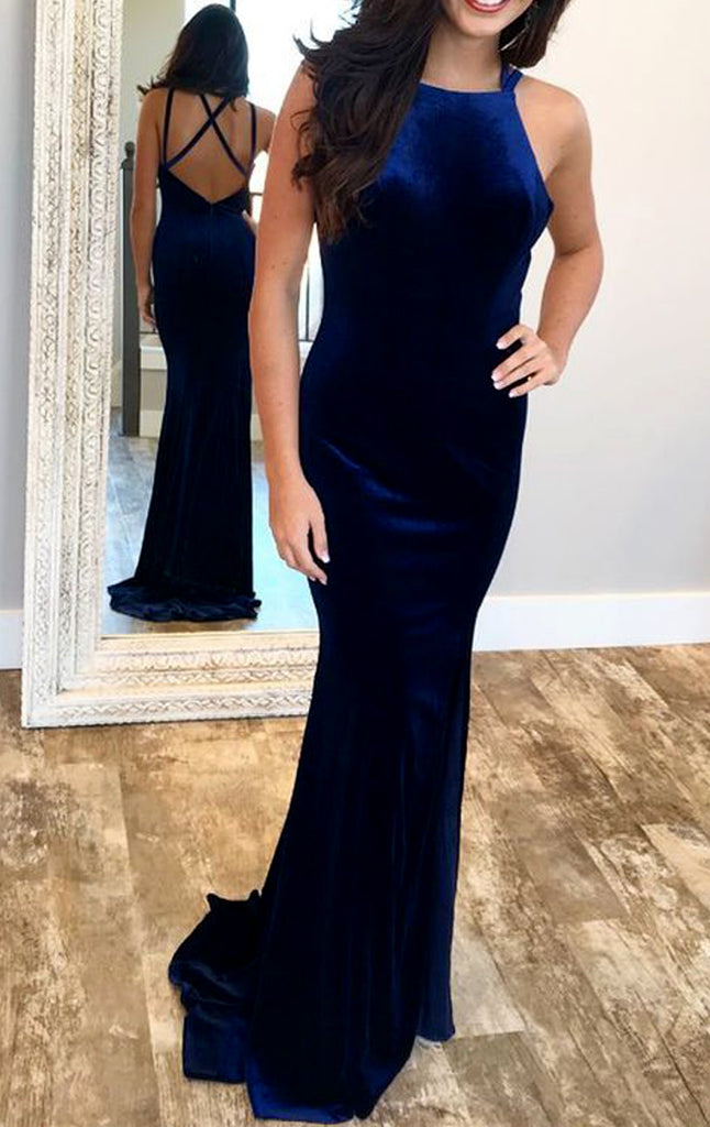 MACloth Mermaid Halter Velvet Long Prom Dress Royal Blue Formal Evening Gown