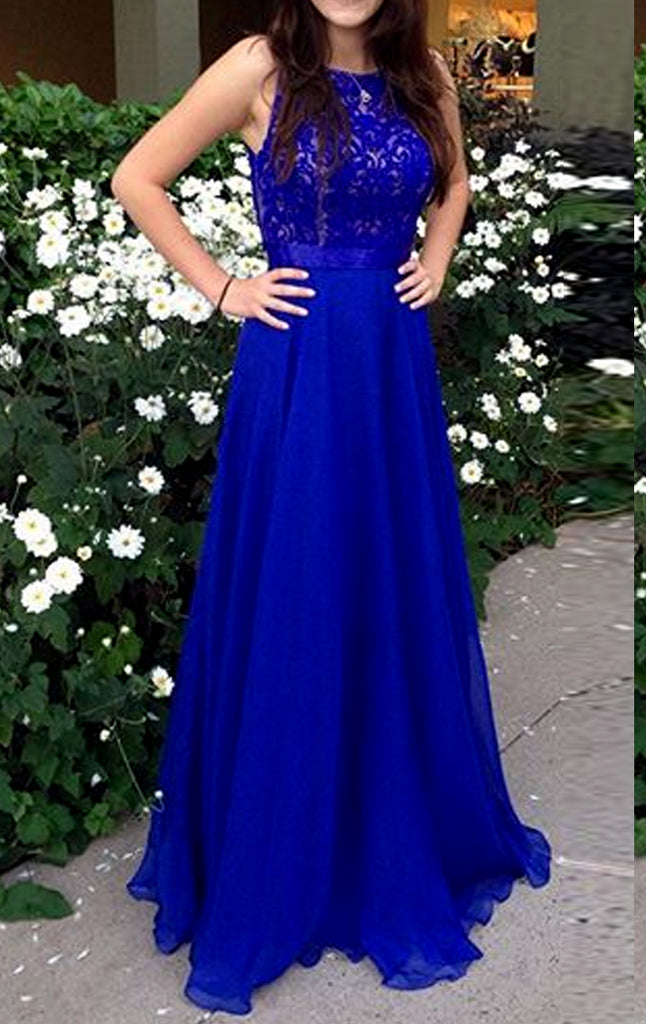 MACloth Straps O Neck Lace Chiffon Long Prom Dress Royal Blue Formal Evening Gown