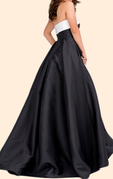 MACloth Strapless Ball Gown Satin Long Prom Dress Black Formal Evening Gown