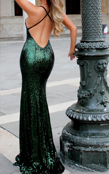 MACloth Mermaid V Neck Sequin Long Prom Dress Dark Green Formal Evening Gown