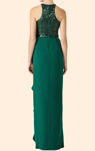 MACloth Halter Sequin Chiffon Long Prom Dress Dark Green Formal Evening Gown