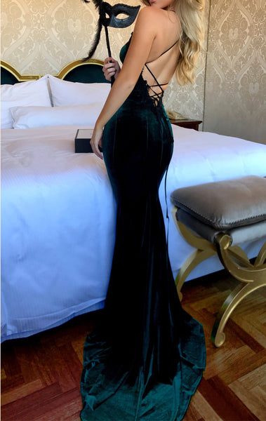 MACloth Mermaid Halter Velvet Long Prom Dress Dark Green Formal Evening Gown