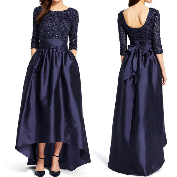 MACloth Half Sleeve Hi Lo Mother of the Brides Dress Dark Navy Sequin Formal Evening Gown