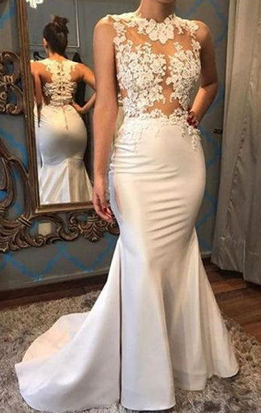MACloth Mermaid Illusion Lace Long Prom Dress Ivory Formal Evening Gown
