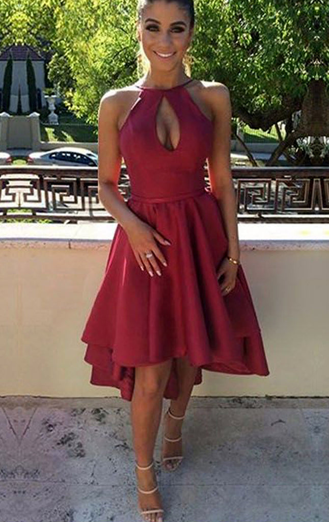 MACloth Halter High Low Satin Prom Homecoming Dress Burgundy Hi-Lo Formal Gown