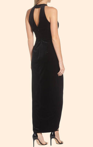 MACloth Halter V Neck High Low Velvet Cocktail Dress Little Black Dress