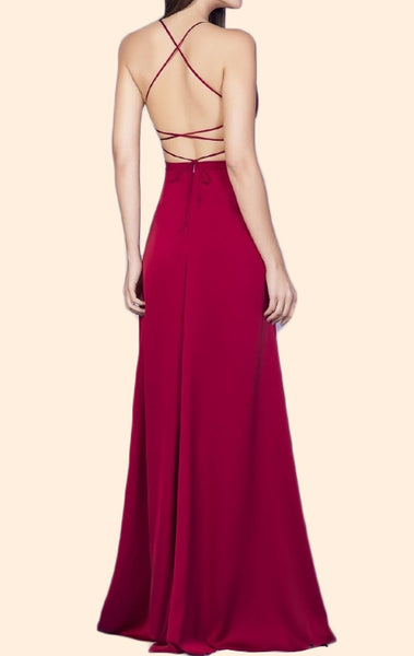 MACloth Spaghetti Straps V Neck Chiffon Long Prom Dress Red Formal Evening Gown