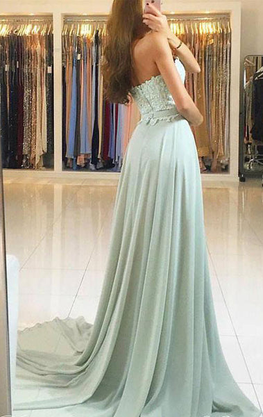 MACloth Strapless Lace Chiffon Long Prom Dress Aqua Formal Evening Gown