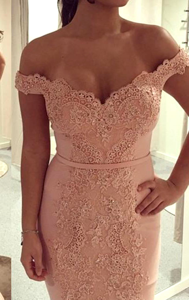 MACloth Mermaid Off the Shoulder Lace Jersey Long Prom Dress Blush Pink Formal Evening Gown