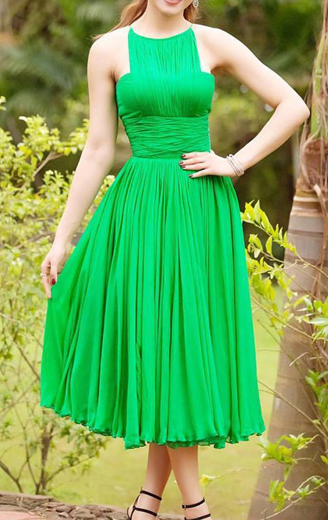 MACloth Halter Chiffon Tea Length Prom Dress Green Formal Party Gown