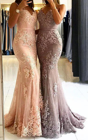 MACloth Mermaid Spaghetti Straps Lace Long Prom Dress Pink Formal Evening Gown