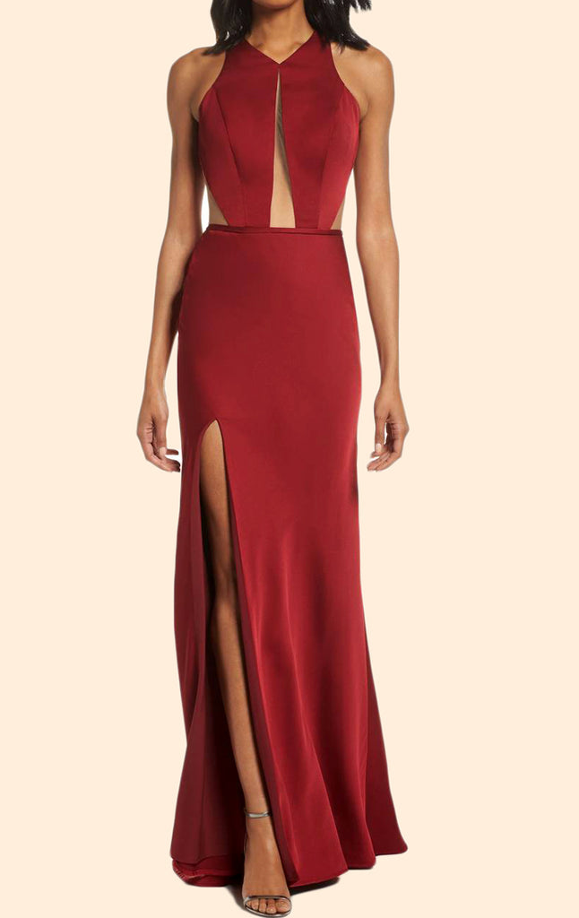 MACloth Halter O Neck Satin Long Prom Dress Burgundy Formal Evening Gown