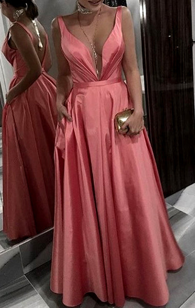 MACloth Deep V Neck Taffeta Long Prom Dress Coral Formal Evening Gown