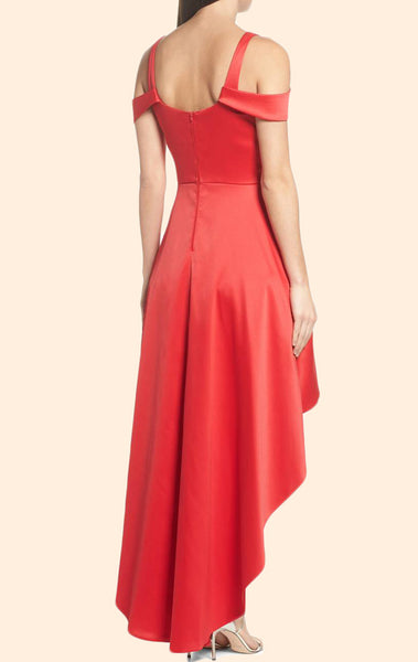 MACloth Off the Shoulder High Low Prom Homecoming Dress Red Wedding Party Formal Gown