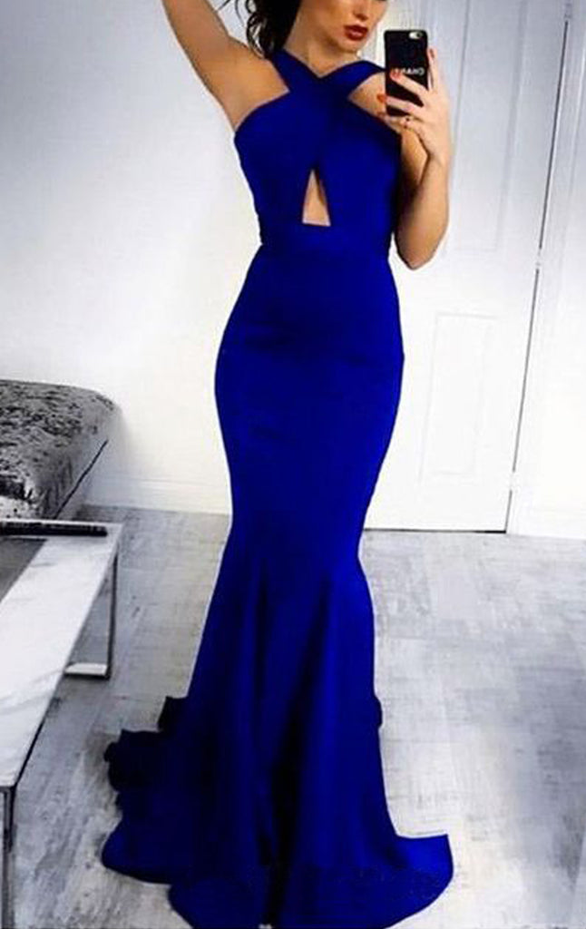 MACloth Mermaid Halter Sexy Jersey Prom Dress Royal Blue Formal Evening Gown