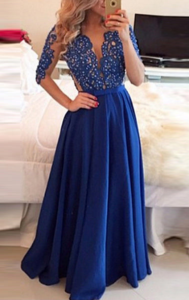 MACloth Half Sleeves Lace Chiffon Long Prom Dress V neck Royal Blue Formal Evening Gown