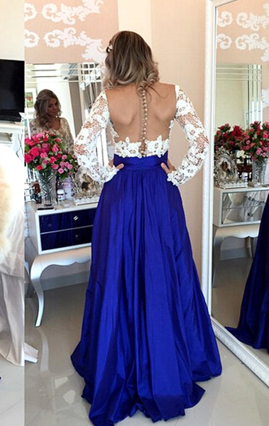 MACloth V Neck Long Sleeves Lace Chiffon Long Prom Dress Royal Blue Formal Evening Gown