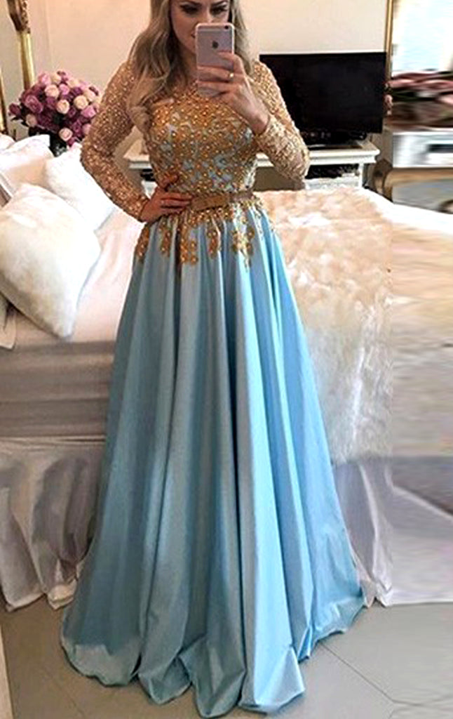 MACloth Long Sleeves Gold Lace Satin Prom Dress Sky Blue Formal Evening Gown