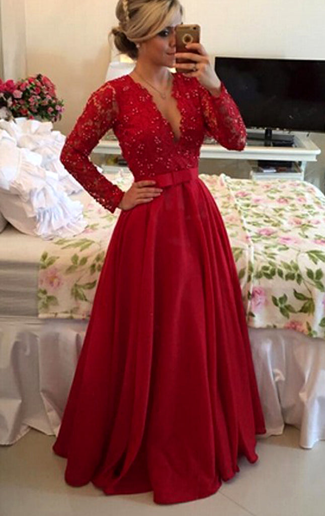 MACloth V Neck Long Sleeves Lace Long Prom Dress Red Formal Evening Gown