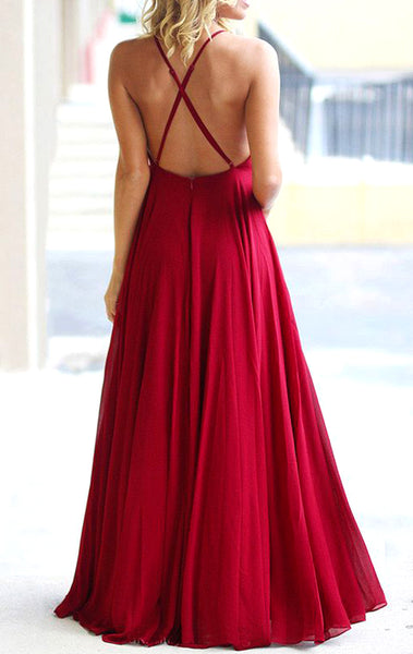 MACloth Halter Chiffon Long Prom Dress with Open Back Red Formal Evening Gown 10724