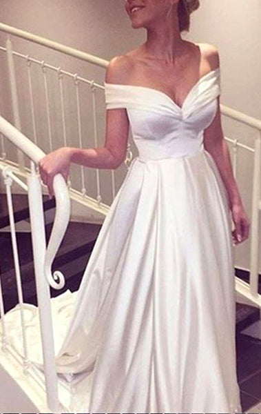 MACloth Off the Shoulder Long Satin Prom Dress Ivory Formal Evening Gown 10725