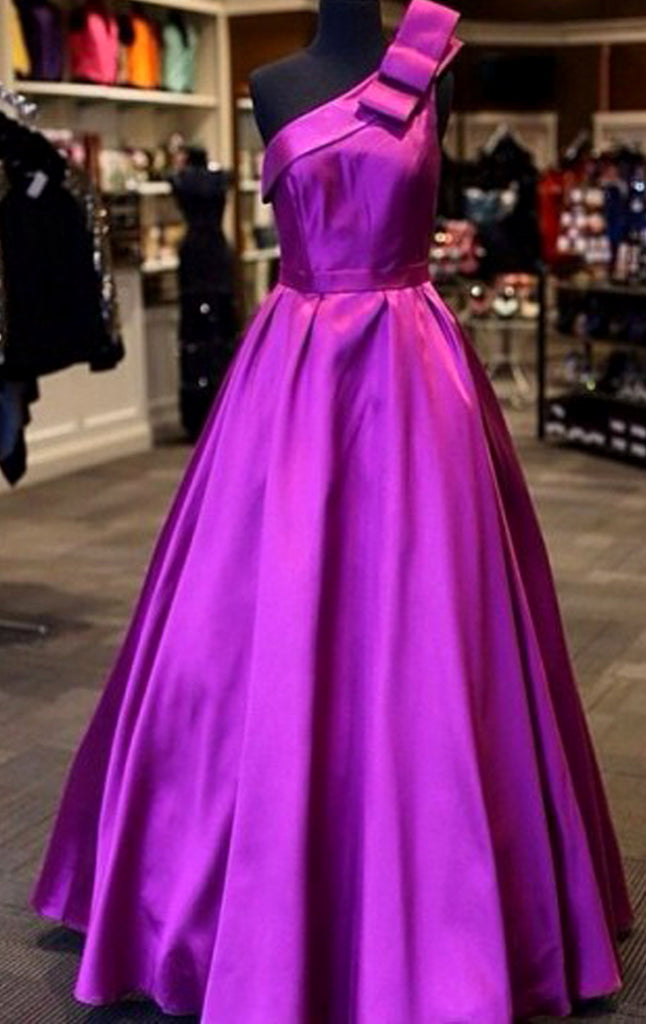 MACloth One Shoulder Satin Ball Gown Prom Dress Fuchsia Formal Evening