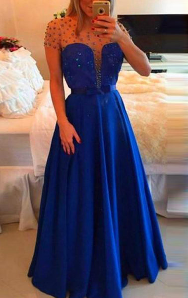 MACloth Short Sleeves Illusion Long Prom Dress Royal Blue Formal Evening Gown