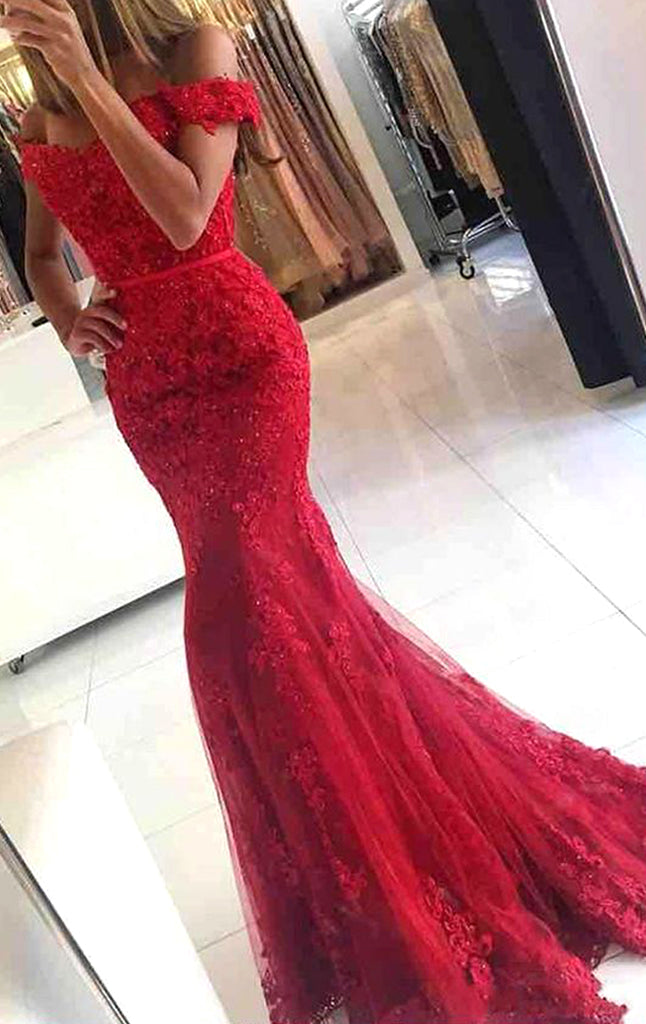 c16a557f8 MACloth Mermaid Off the Shoulder Lace Long Prom Dress Red Formal Eveni