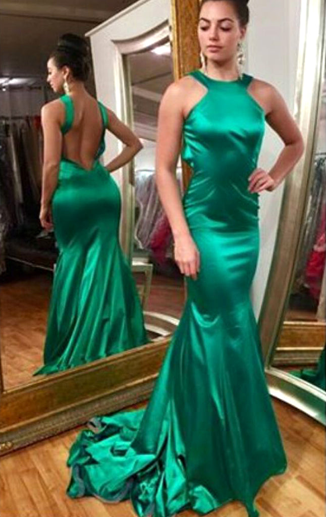 MACloth Mermaid Halter Satin Long Prom Dress Green Formal Evening Gown